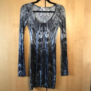 Helmut Lang grey abstract long sleeve dress size p